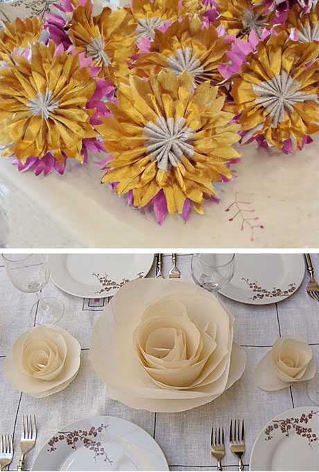 Paper flower centrepieces