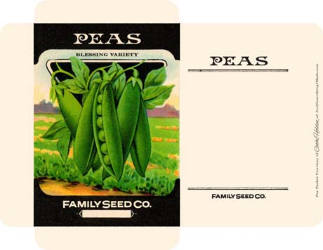 Downloadable seed packet with peas