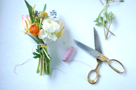 DIY bouquet single blooms