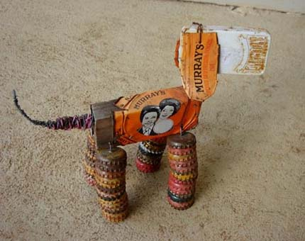 tin dog sculpture from recycled materials