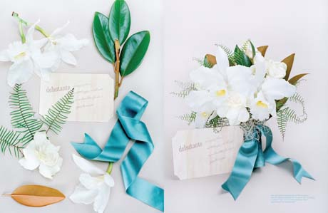 Evergreen magnolia, cattleya and gardenia bouquet