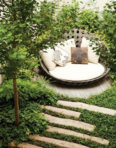 backyard chair in terraced garden