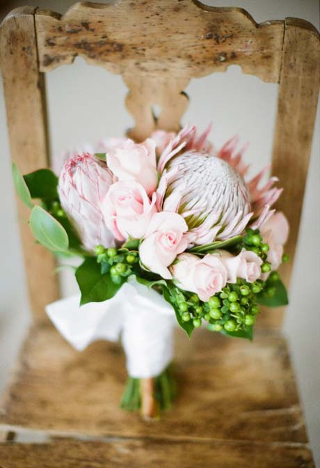 proteas in wedding bouquet