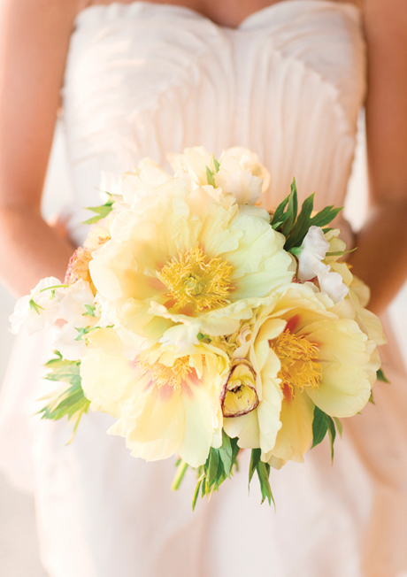 Yellow tree peony wedding bouquet